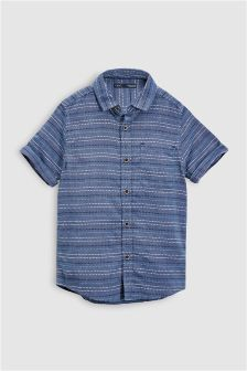 Short Sleeve Stripe Textured Shirt (3-16yrs)