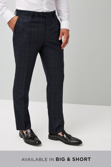Tailored Fit Check Wool Blend Suit: Trousers