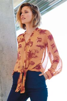 Printed Tie Front Shirt