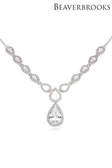 Beaverbrooks Silver Cubic Zirconia Pear Halo Necklace