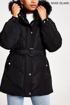 River Island Black Belted Padded Coat