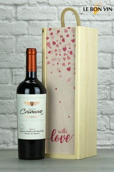 With Love Reserve Merlot Wood Box Gift by Le Bon Vin