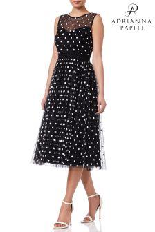 Adrianna Papell Black Dot Tea Length Dress