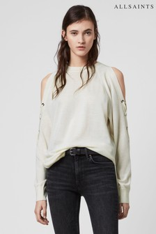 AllSaints White Cross Jumper