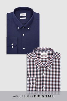 Gingham And Plain Slim Fit Shirts Two Pack