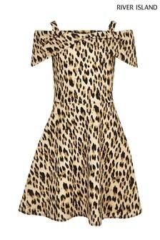 River Island Leopard Print Bardot Dress