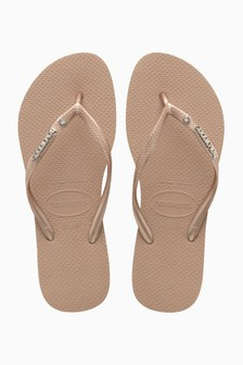 Havaianas® Rose Gold Metal Logo And Crystal Flip Flop