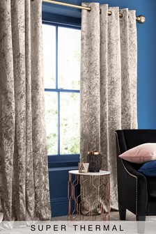 Crushed Velvet Eyelet Super Thermal Curtains