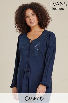 Evans Blue Curve Broderie Gypsy Top