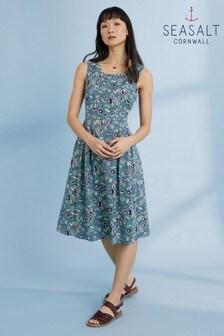 Seasalt Tall Blue Keeper's Croft Ceramic Blooms Schooner Dress