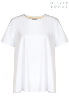 Oliver Bonas White Gingham Back T-Shirt