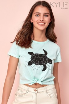 Kylie Green Turtle Print Tie Front T-Shirt