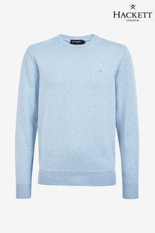 Hackett Blue Cotton Silk Crew Sweater