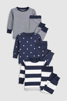 Stripe/Star Snuggle Fit Pyjamas Three Pack (9mths-8yrs)