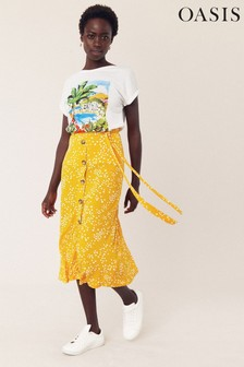 Oasis Yellow Spot Button Midi Skirt