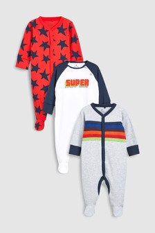 Slogan Print Sleepsuits Three Pack (0mths-2yrs)