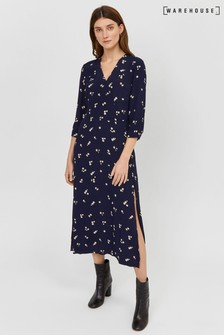 Warehouse Blue Verity Ditsy Floral Midi Dress