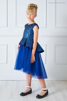 Angel & Rocket Dark Blue Jacquard Dress