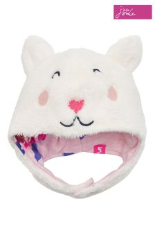 Joules Cream Cat Fluffy Hat