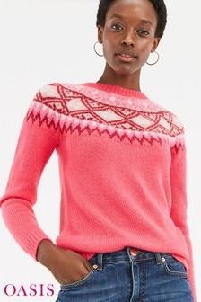 Oasis Multi Pink Abigail Fairisle Pattern Jumper