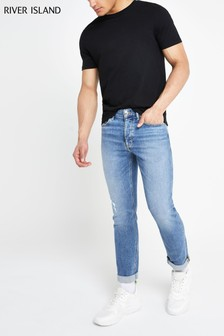 River Island - Middenblauwe smalle Ilkley jeans