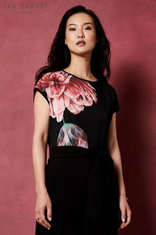 Ted Baker Keziaa Black Woven Floral Tee