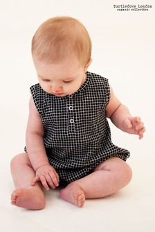 Turtledove London Black Grid Jersey Bubble Romper