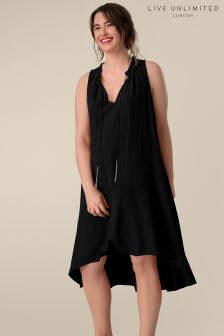 Live Unlimited Black High Low Hem Trapeze Dress