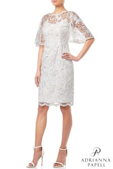 Adrianna Papell Ivory Flare Sleeve Sequin Sheath Dress