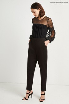 French Connection jumpsuit met pofmouwen in zwart