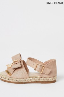 River Island Pink Light Decal Bow Espadrilles