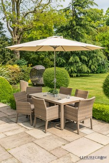 Helsinki 6 Seater Dining Set With Parasol And Base By Leisuregrow