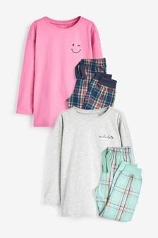 2 Pack Woven Check Pyjamas (3-16yrs)