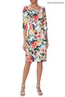 Gina Bacconi Red Isolena Floral Scuba Dress