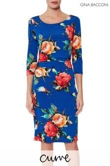 שמלה מבד ג'רזי עם הדפס פרחוני של Gina Bacconi דגם Yanina בכחול
