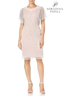 Adrianna Papell Pink Short Beaded Dress
