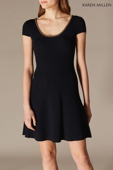 Karen Millen Black Chain Neck Detail Dress