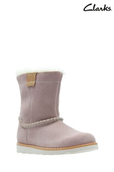 Clarks Pink Suede Crown Piper Trim First Boot