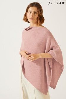 Jigsaw Pink Cashmere Blend Pique Poncho