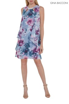 Gina Bacconi Purple Alyona Floral Chiffon Dress
