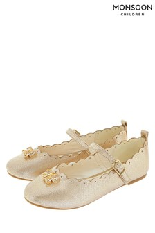 Monsoon Gold Christie Scalloped Bow Ballerina