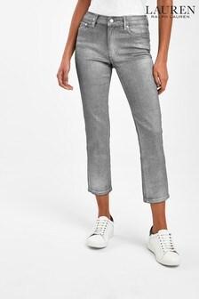 Lauren Ralph Lauren® Grey Metallic Straight Crop Jeans