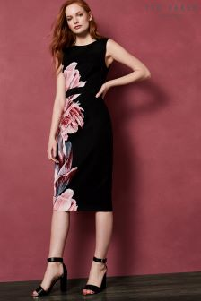 Ted Baker Xanadu Black Bodycon Floral Dress