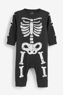 Glow In The Dark Skeleton Footless Sleepsuit (0-18mths)