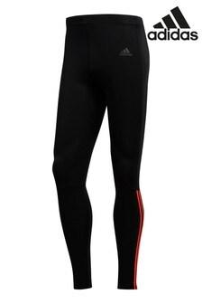 טייץ עם 3 פסים של adidas Run בצבע שחור/כתום