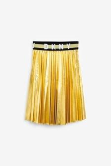 DKNY Gold Pleated Skirt