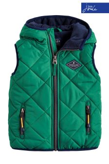 Joules Green Jonah Hooded Quilted Gilet