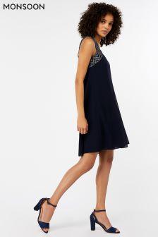 Monsoon  Blue Blair Embellished Short Dress