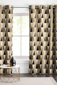Diamond Geo Print Eyelet Curtains