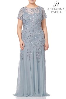 Adrianna Papell Blue Plus Floral Beaded Godet Gown